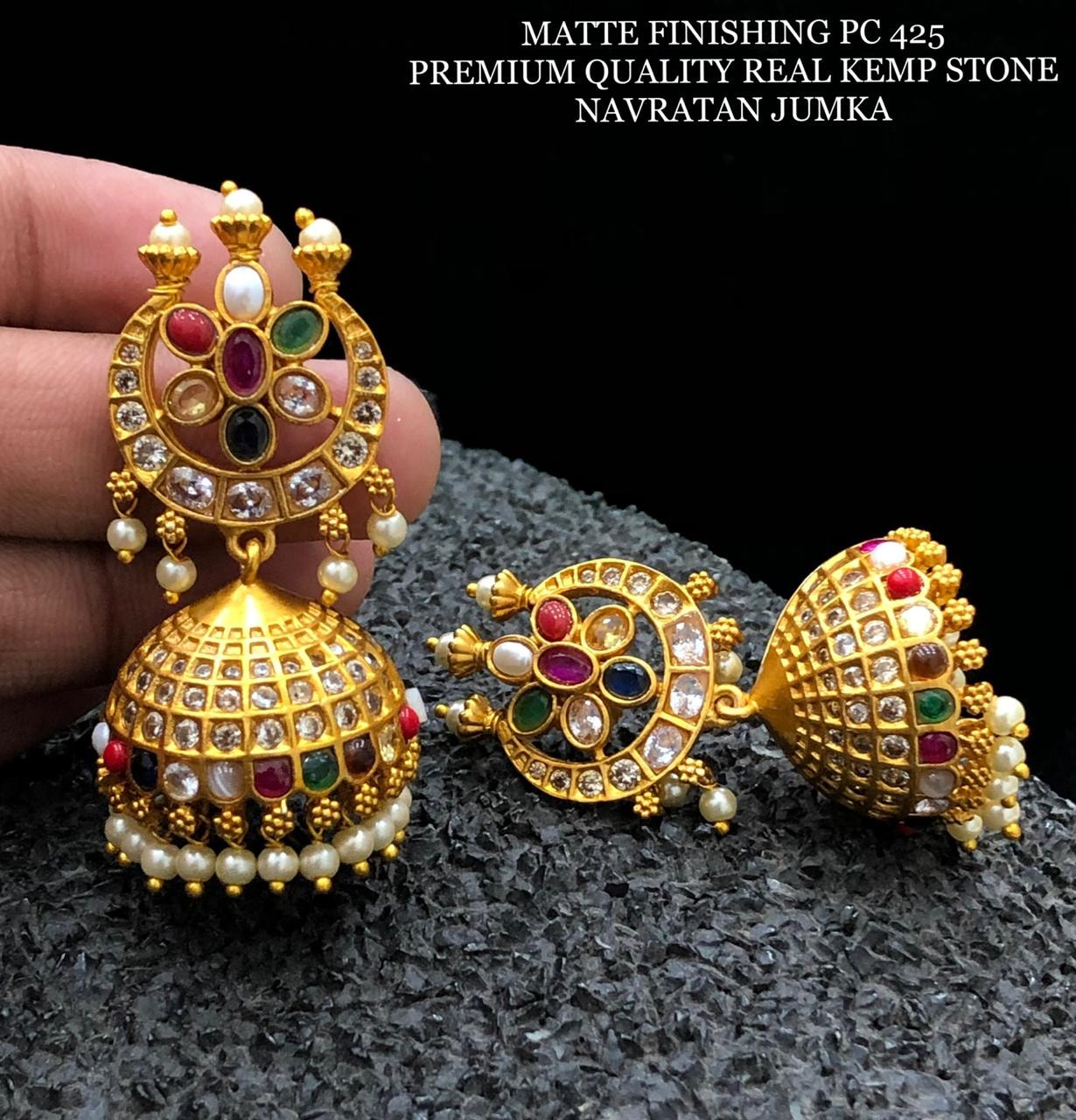 Beautiful one gram gold jumkhis studded with navaratan real kempus. 1 gram gold set 1gm gold jewellery 1 gram gold jewellery with price