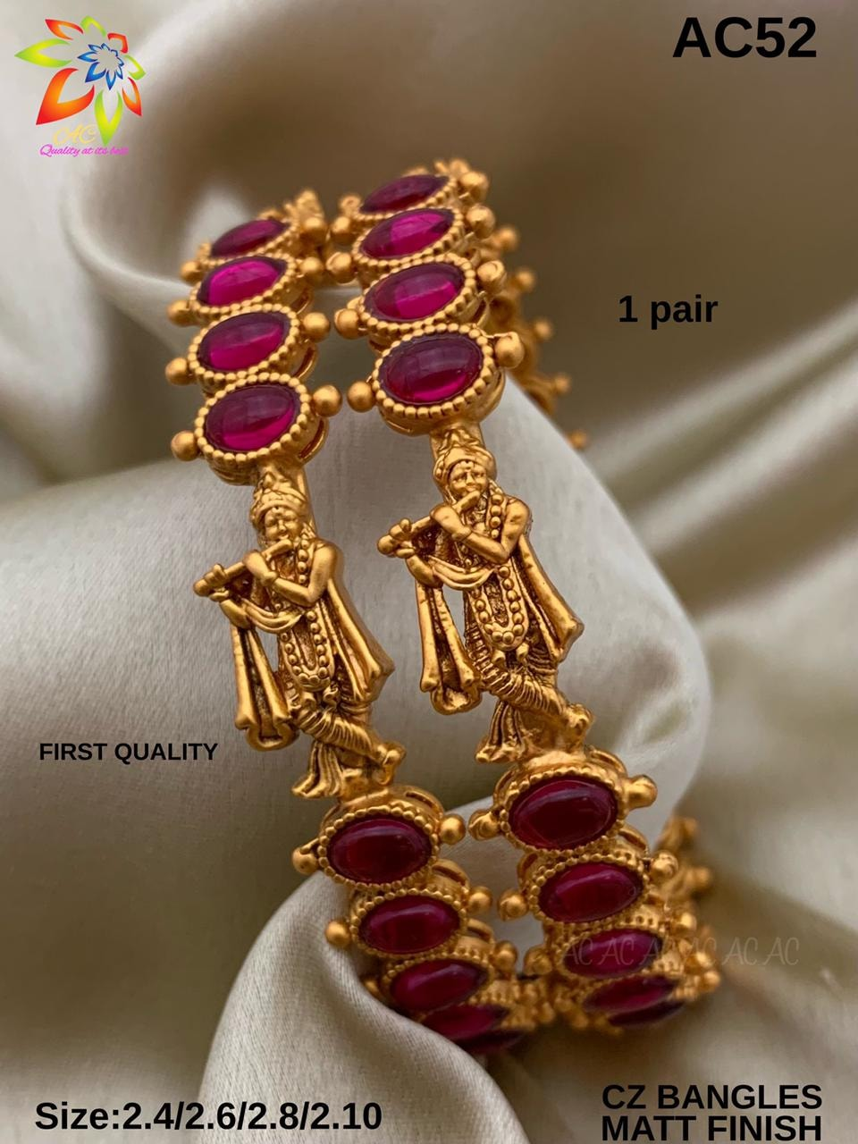Gorgeous matt finish Cz bangles with Lord Krishna Motifs. one gram gold chains online shopping matte finish 1 gram gold jewellery one gram gold bridal sets