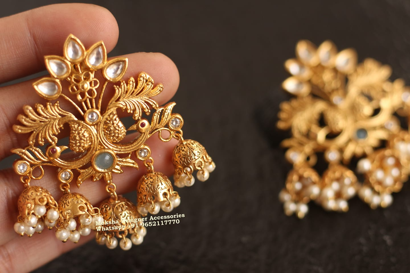 Beautiful one gram gold multi tiny jumkhi hangings to peacock studs.  1 gram gold earring design 1 gram gold jewellery in begum bazar 1 gram gold sets with price