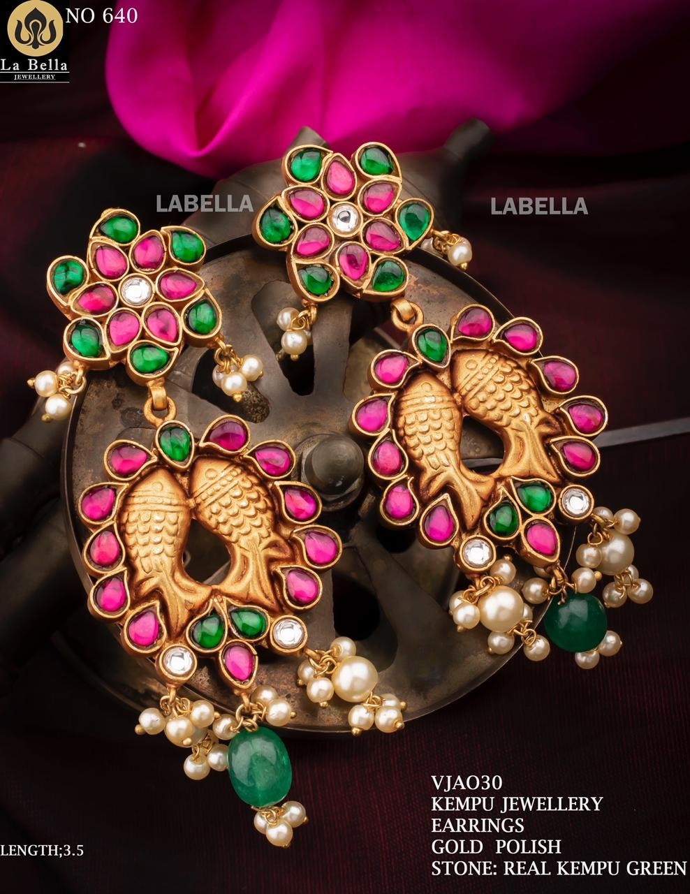 Beautiful one gram gold meena earrings studded with multi color kempus. one gram gold jhumkas one gram gold earrings with price 1 gram gold chain price