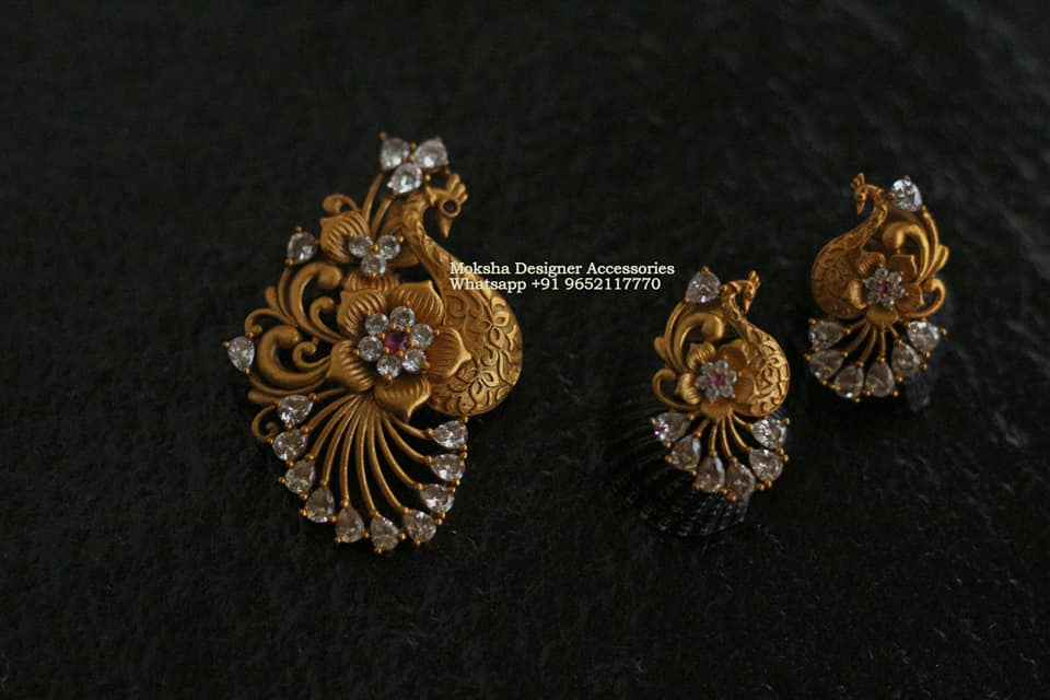 BEautiful one gram gold peacock pendant with matching earrings. 1 gram gold jewellery in begum bazar one gram gold plated chain 1 gram gold bridal jewellery set