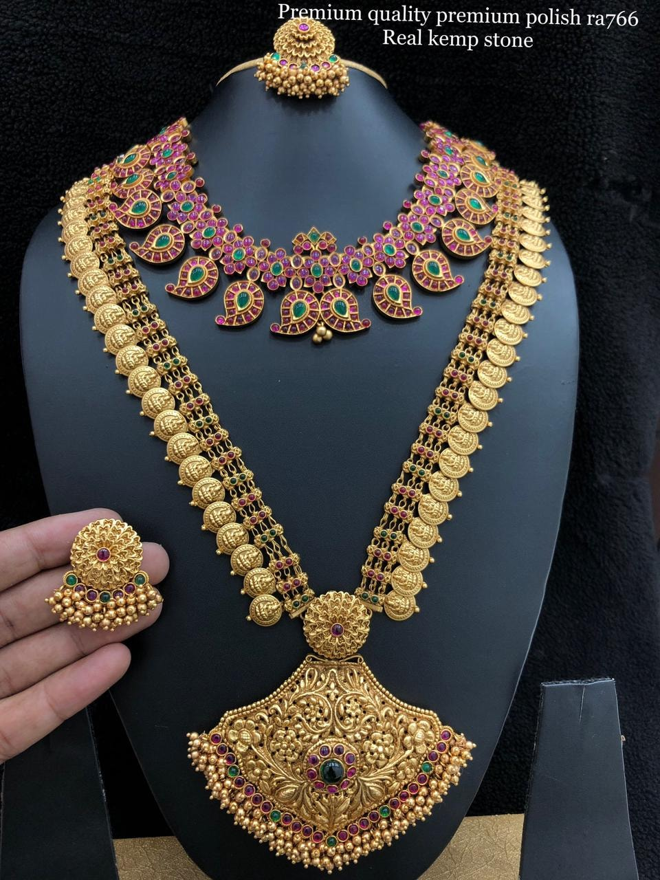 Beautiful one gram gold bridal set with Lakshmi haaram and mango necklace.