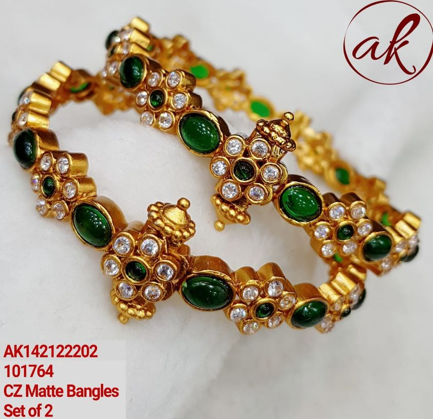 Gorgeous one gram gold bangles studded with green and white czs. 1 gram gold jewellery in begum bazar designer one gram gold jewellery one gram gold plated chain