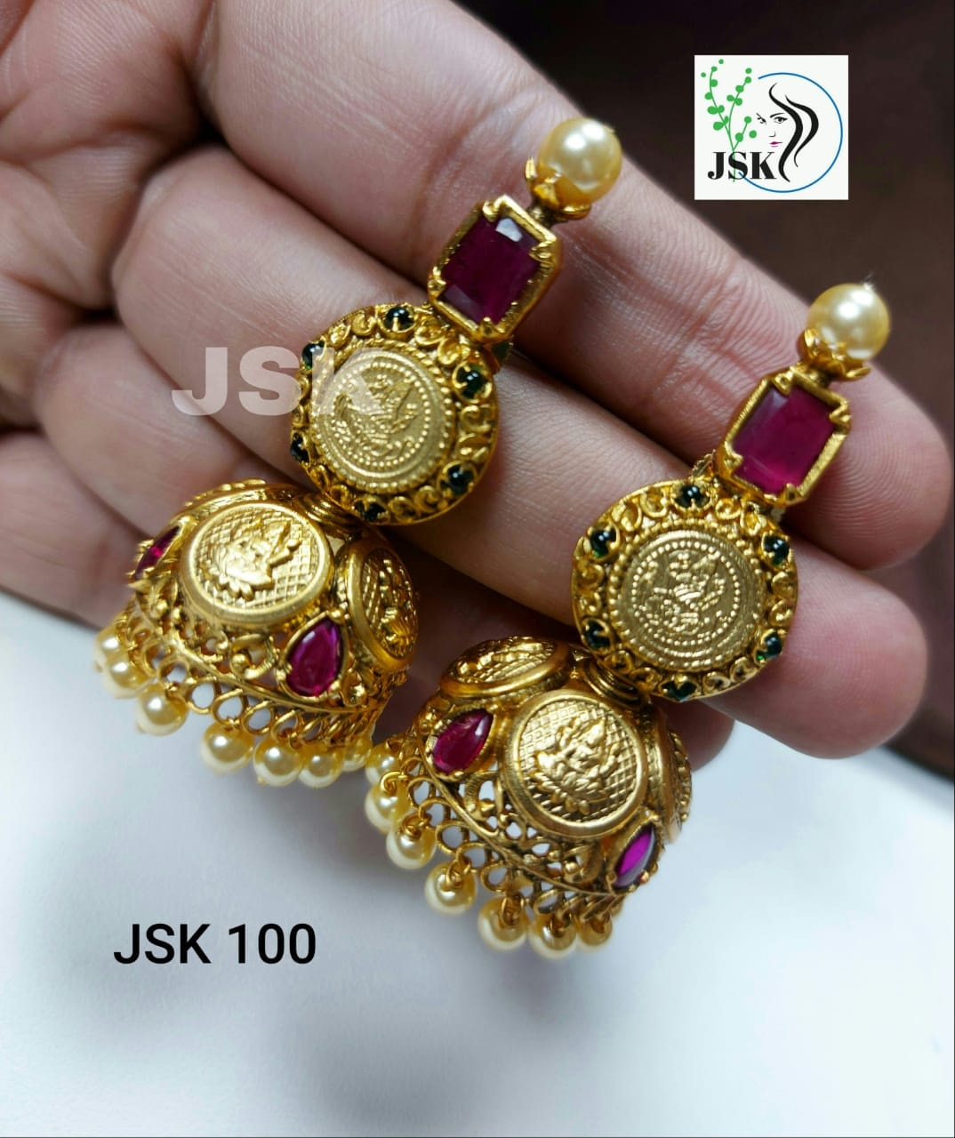 Lovely one gram gold Lakshmi devi jumkhis.