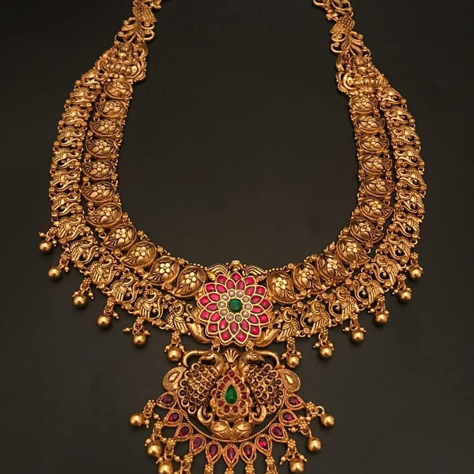 Gorgeous one gram gold antique necklace. 1 gram gold sets with price chilakalapudi one gram gold jewellery online 1gm gold jewellery