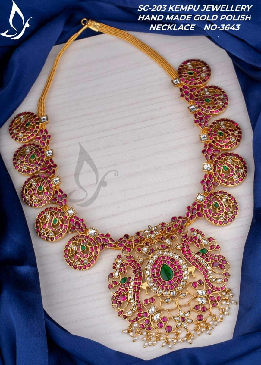 Gorgeous one gram gold necklace studded with multi color kempus. one gram necklaces with price one gram gold necklace designs 1 gram gold jewellery sets with price