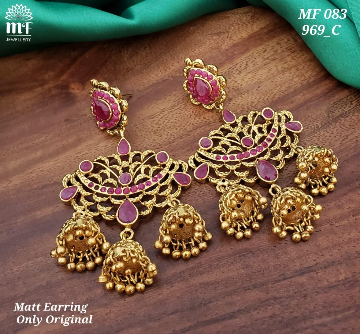 Gorgeous one gram gold or matt finish earrings with triple jumkhi hangings.  one gram gold online shopping 1 gram jewellery online shopping one gram gold jhumka earrings online shopping