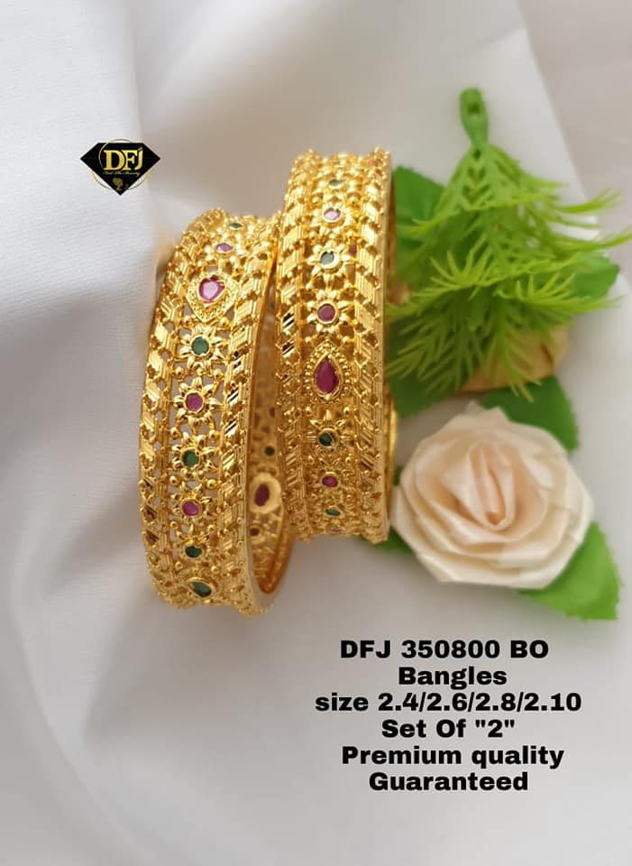 Beautiful one gram gold bangles studded with multi color stones. 1 gram gold jewellery in begum bazar 1 gram gold online shopping one gram gold chain models
