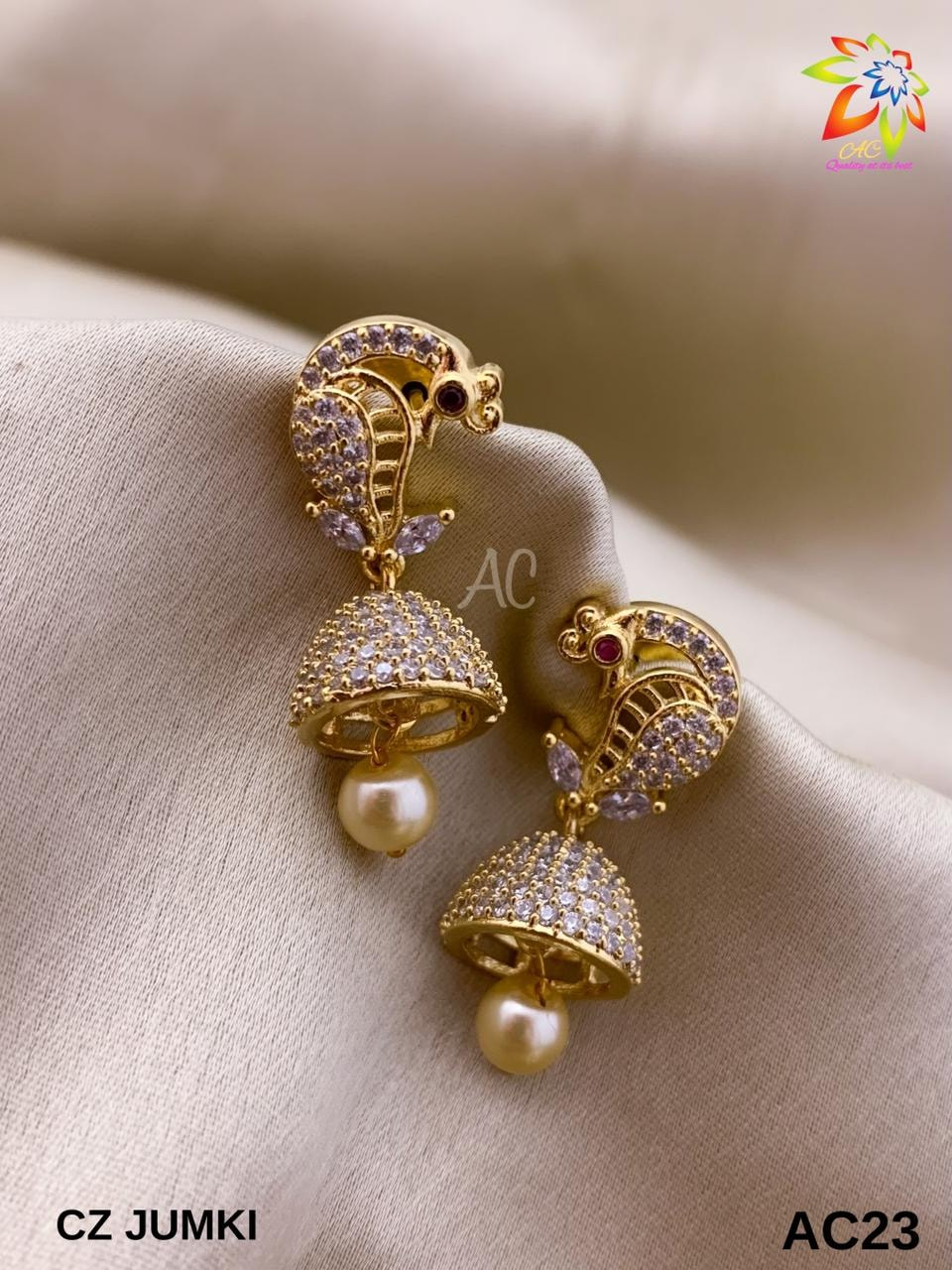 Gorgeous one gram gold  peacock jumkhis studded with multi color CZs. parakkat one gram jewellery 1gram gold jewelry 1 gram gold items