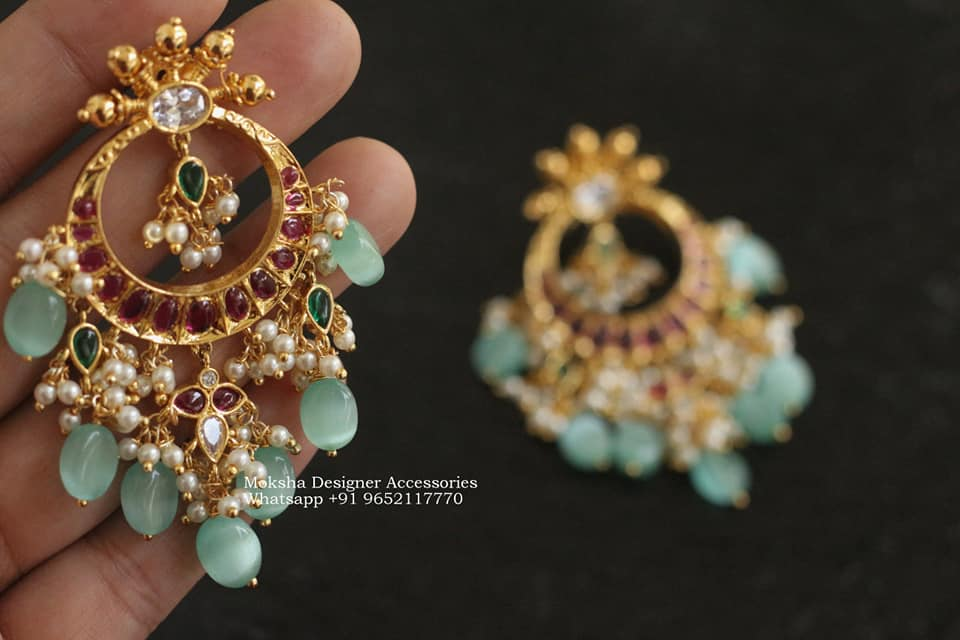 Gorgeous one gram gold chaandbalis studded with kundans and bead hangigns. one gram gold jewellery wholesale antique one gram gold jewellery one gram gold earrings