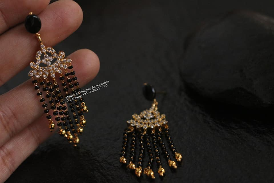 Gorgeous one gram gold earrings with black bead chain hangigns. 1 gram earring design one gram gold jhumkas with price 1 gram gold chain for ladies