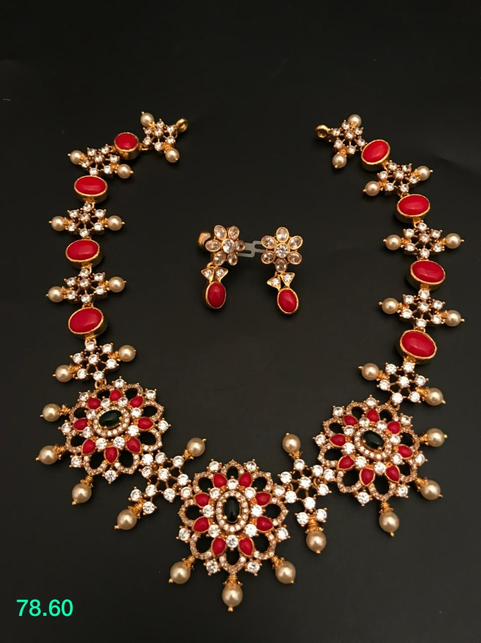 BEautiful one gram gold necklace studded with rubies pearls and stones. one gram gold designs begum bazar one gram gold shops one gram jewellery wholesale