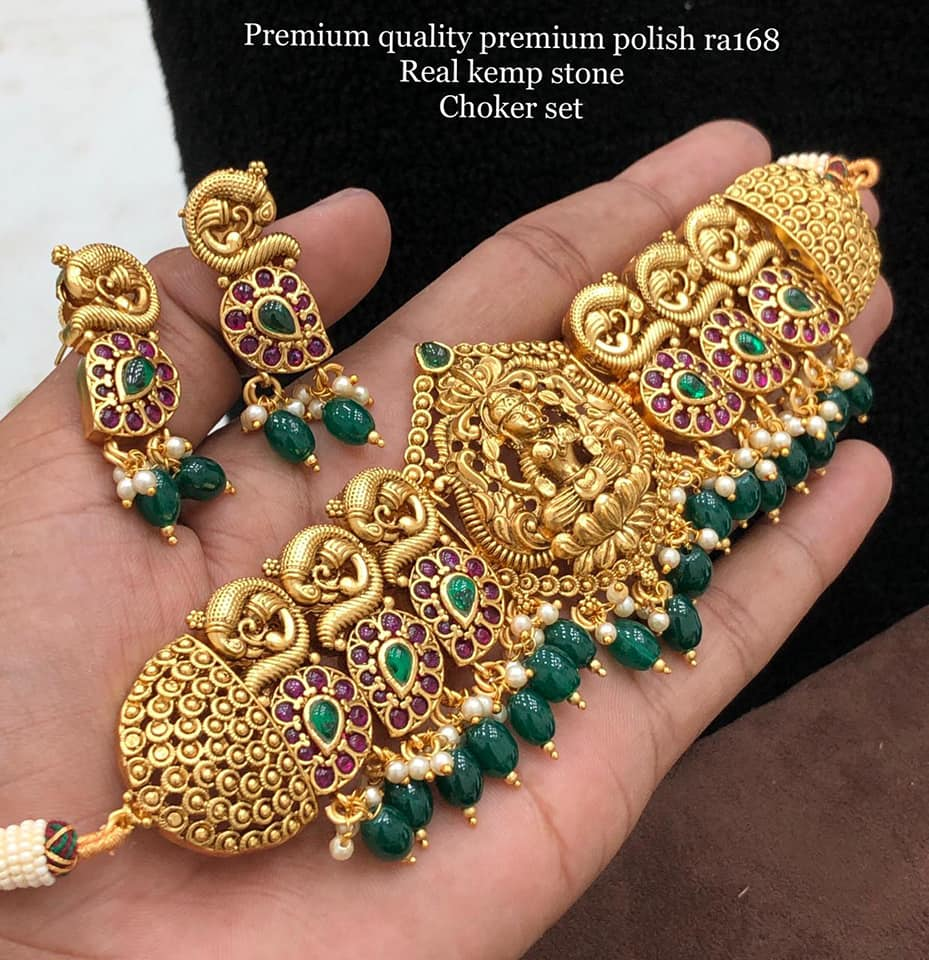 Beautiful one gram gold Lakshmi choker studded with kempus. 1 gram jewellery set 1gm jewellery one gram gold necklace