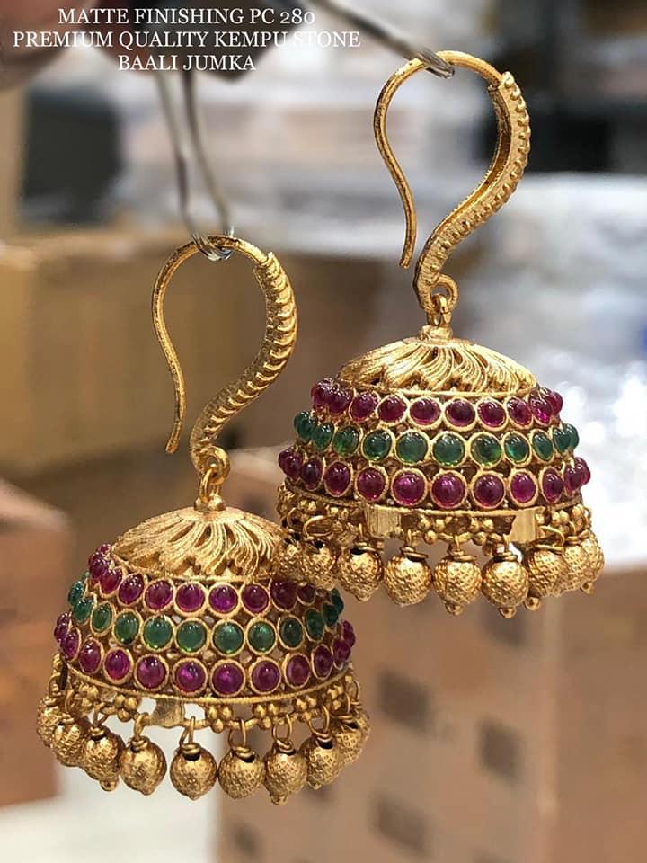 Beautiful one gram gold kempu stone baali jumkhi.