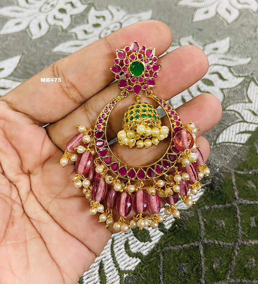 Beautiful one gram gold chaandbali with jumkhi hangings at center.  one gram jewellery one gram gold cz jewellery with price one gram gold ornaments with price