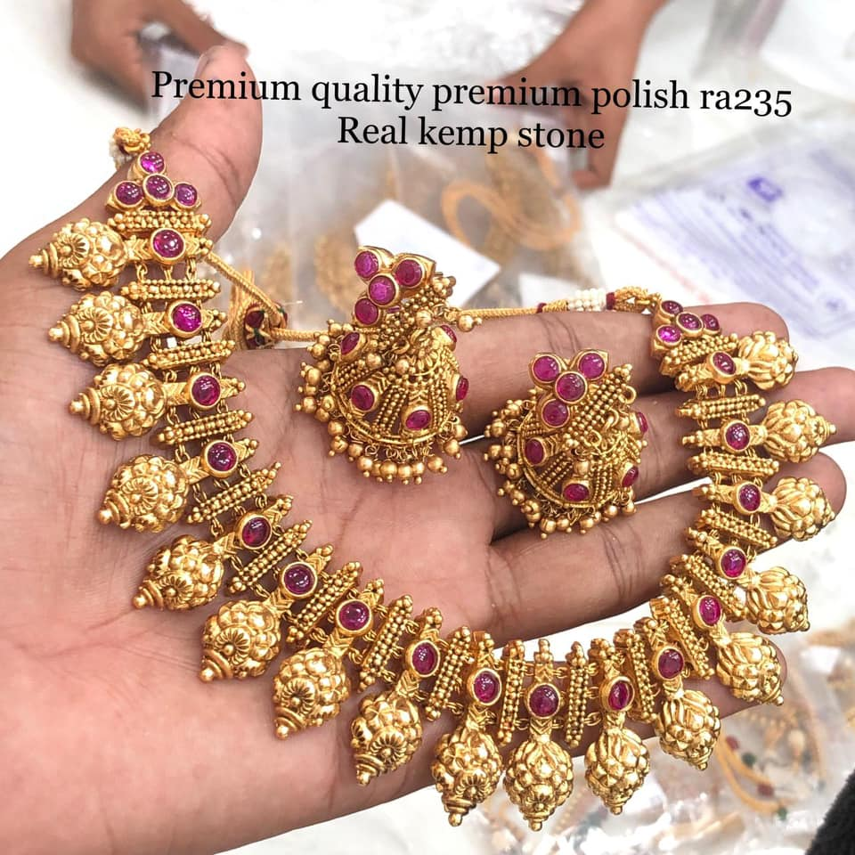 Beautiful premium quality one gram gold necklace studded with real kemp stones. Necklace with matching jumkhis.  one gram jewellery online 1 gram gold choker 1 gm gold ornaments