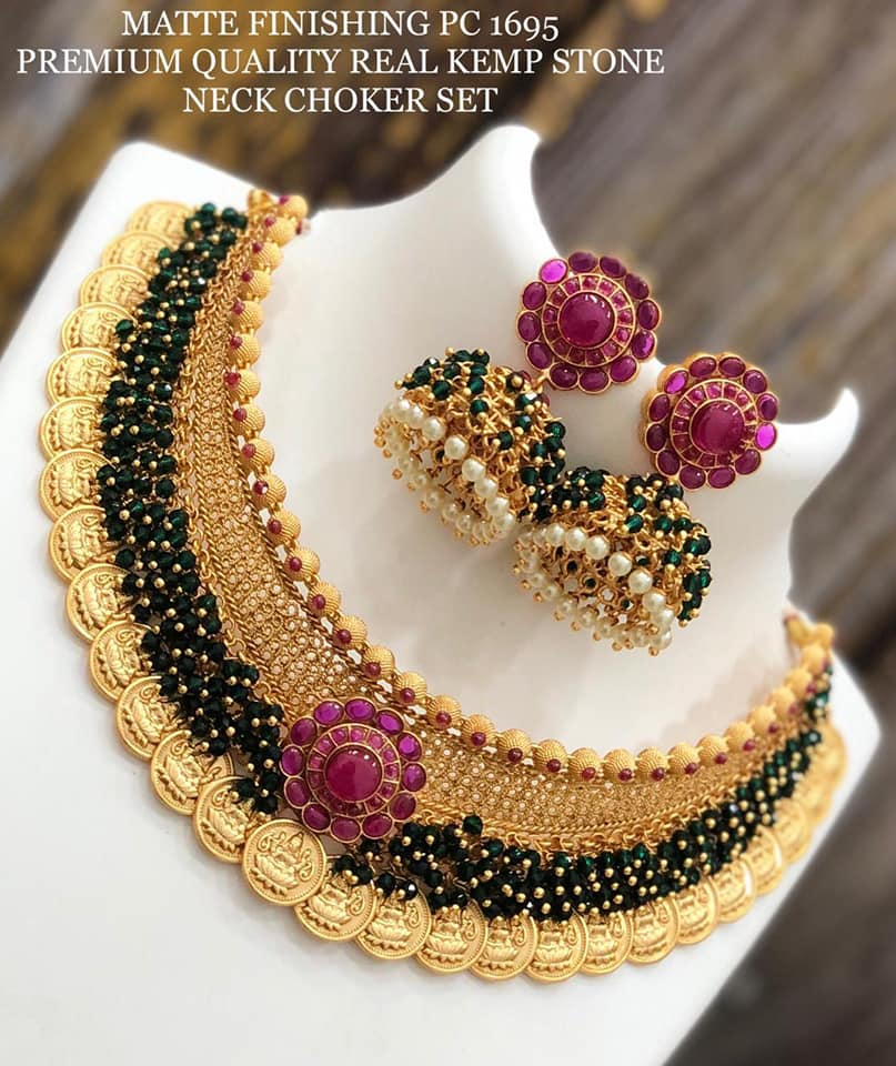 Beautiful matt finish premium quality necklace with green guttapusalu and Lakshmi kasu hangings.  one gram gold necklace set online 1gm gold jewellery one gram gold ruby necklace