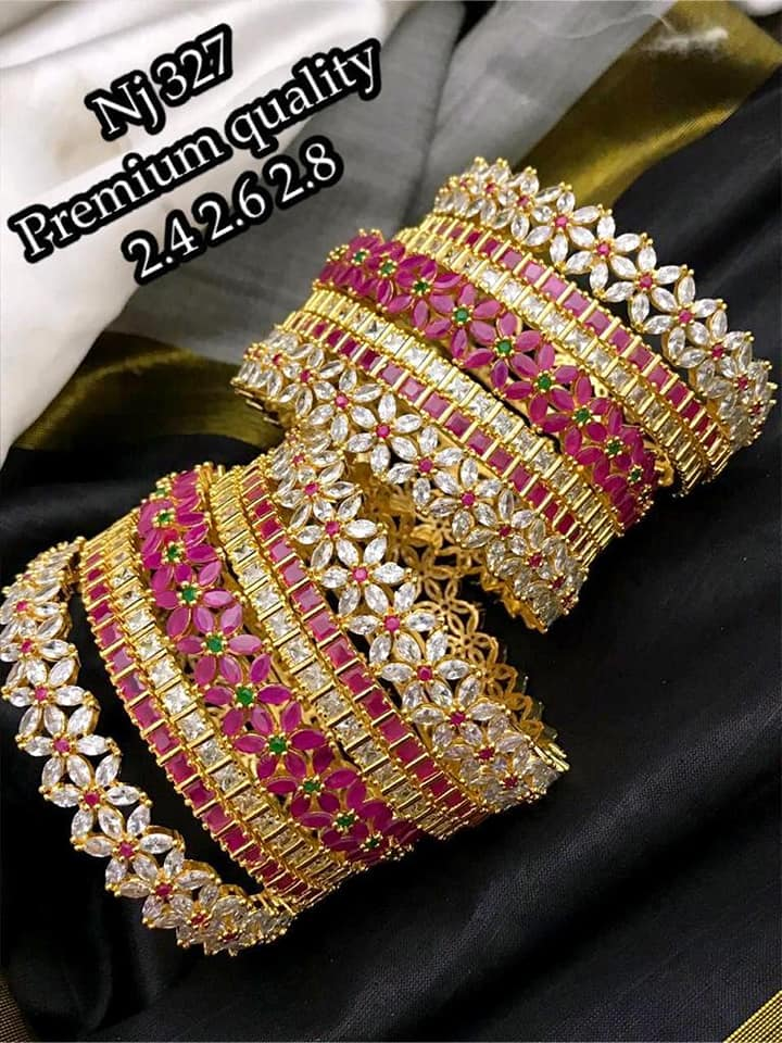 Beautiful one gram gold bangle set studded with multi color CZs.    1 gram gold antique jewellery 1gm gold jewellery with price 1 gram gold bridal jewellery sets with price