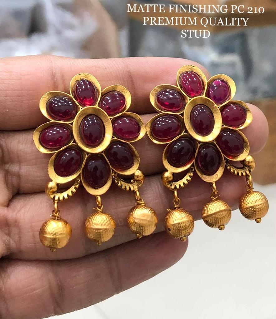 Stunning one gram gold or matte finish ear tops studded with pink color stones. 1 gm gold chain online 1 gram gold jewellery wholesale online one gram jewellery set