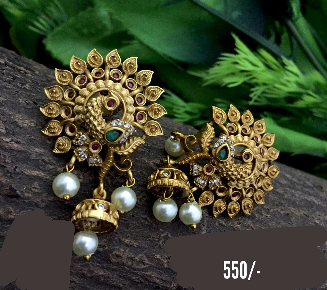 Stunning one gram gold or matte finish peacock ear studs with pearl hangings. Price : 550/- one gram gold black dori necklace begum bazar one gram gold shops one gram gold designs with price