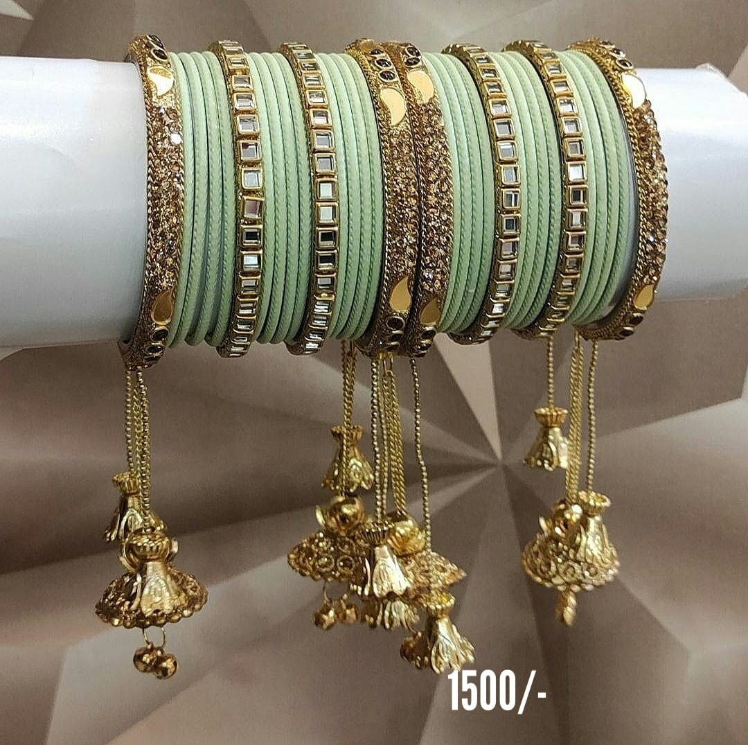Stunning one gram gold or matte finish bangles studded with mirrors. gram gold jewellery 1 gram gold bangles design ruby bangles in 1 gram gold