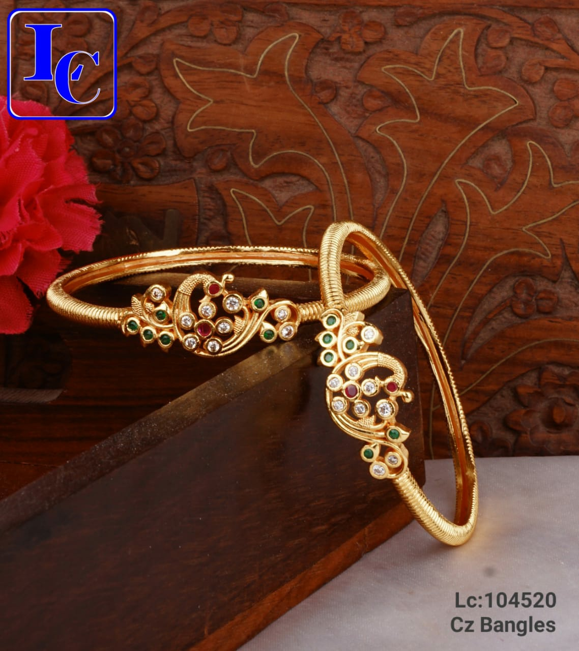 Beautiful one gram gold bangles studded with multi color CZs.  antique one gram gold jewellery one gram jewellery wholesale one gram gold jewellery shops in begum bazar