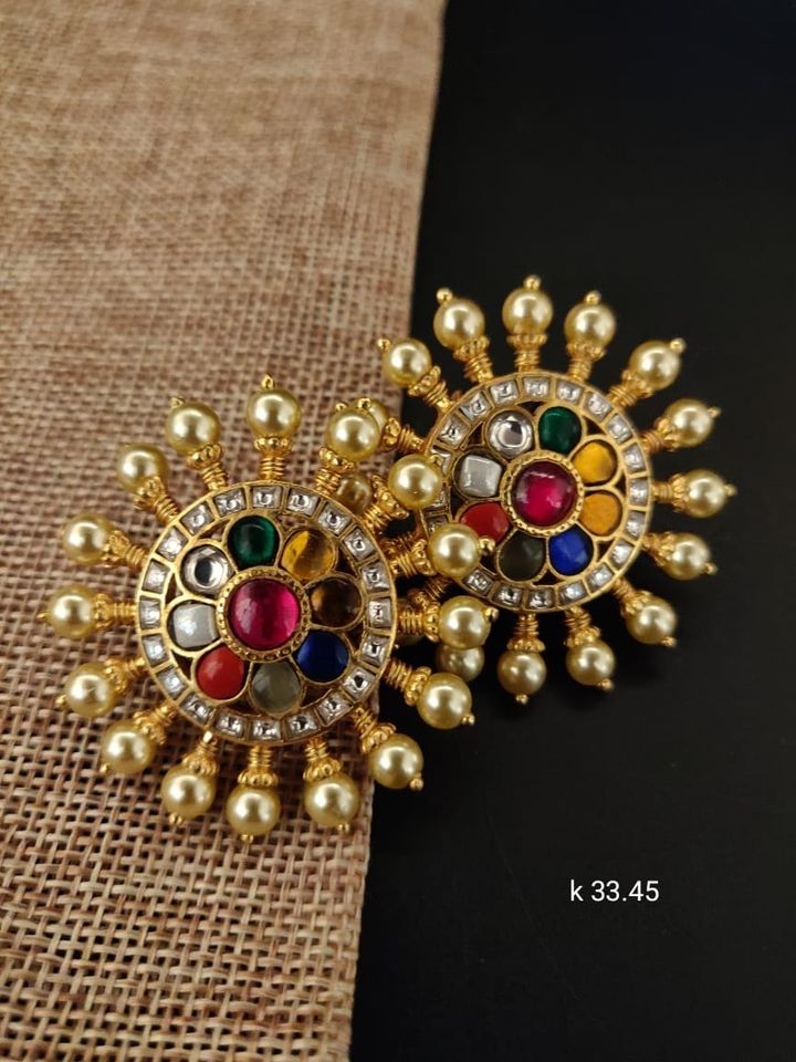 Beautiful one gram gold or matte finish premium quality ear tops studded with multi color stones.     begum bazar 1 gram gold shops 1 gram imitation jewellery one gram gold jewellery