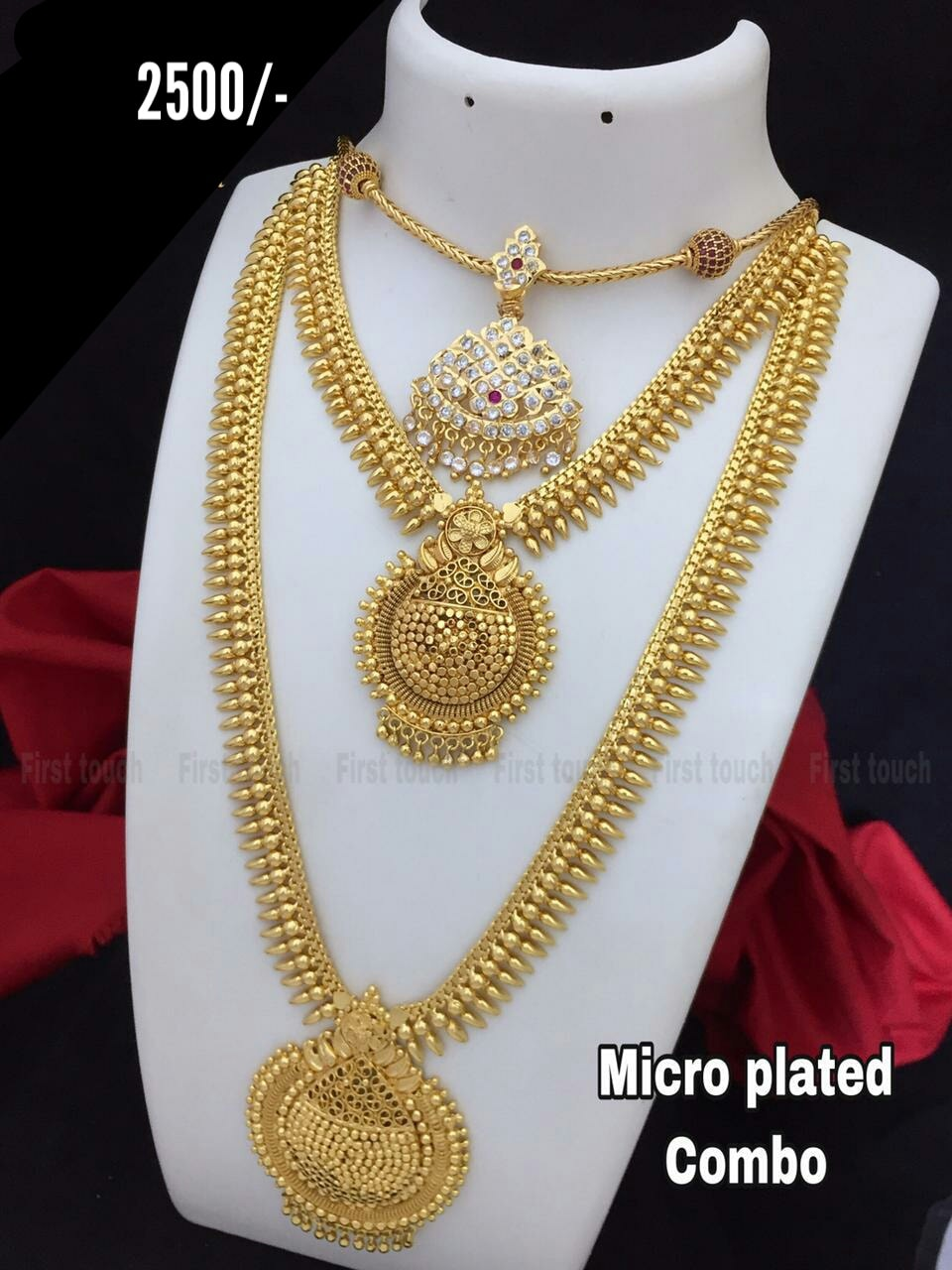 Beautiful  matte finish premium quality micro plated combo set. Price : 2500/ one gram gold chain online 1 gram jewellery online shopping one gram temple jewellery