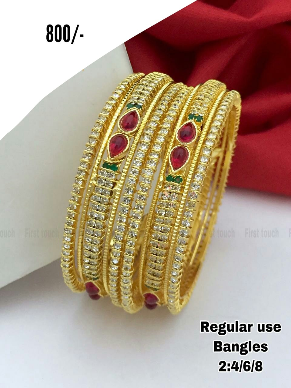 Beautiful one gram gold bangles studded with multi color CZs.  one gram gold jewellery parakkat best one gram gold jewellery online 1gm gold jewellery online shopping