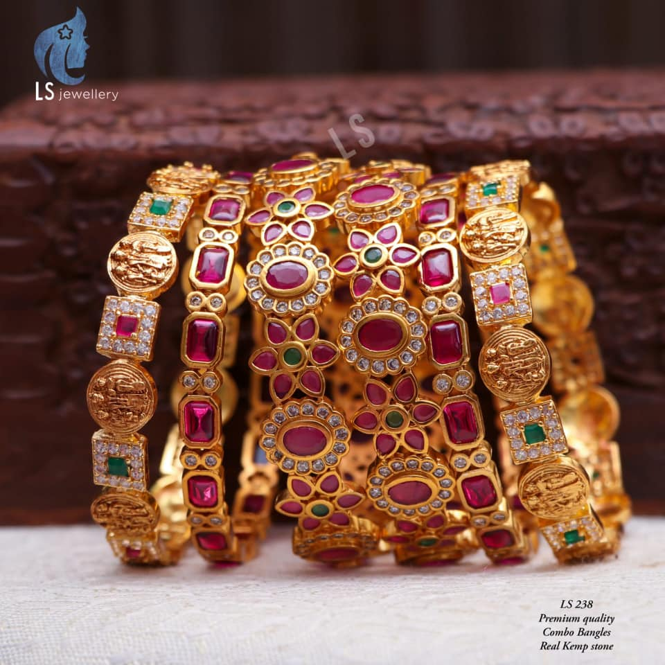 Beautiful one gram gold combo  bangles studded with multi color kemp stones. bangles design in one gram gold one gram gold jewellery one gram jewellery wholesale