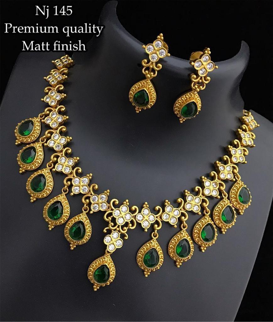 Beautiful one gram gold matt necklace studded with multi color CZs. best 1 gram gold jewellery online one gram gold jewellery online shopping 1 gram jewellery set