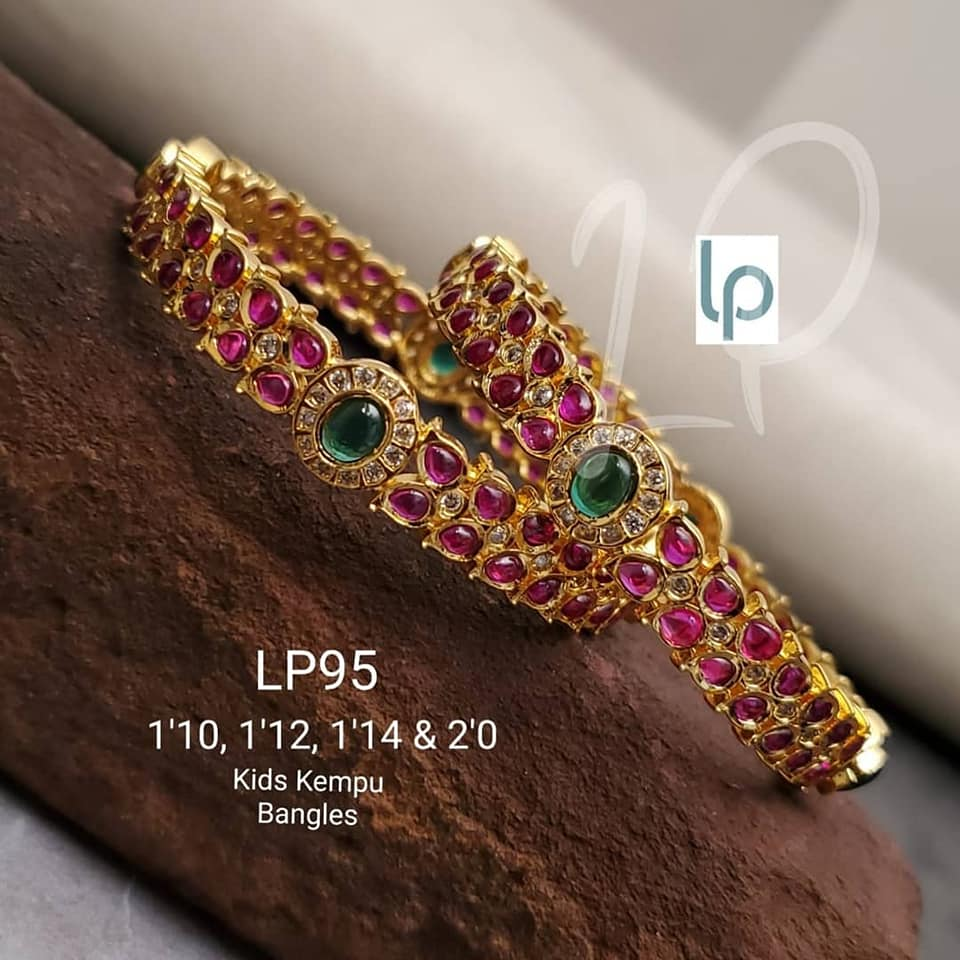 Beautiful one gram gold kids bangles studded with multi color CZs.    one gram gold stone jewellery 1 gram gold jewellery wholesale begum bazar one gram gold set with price