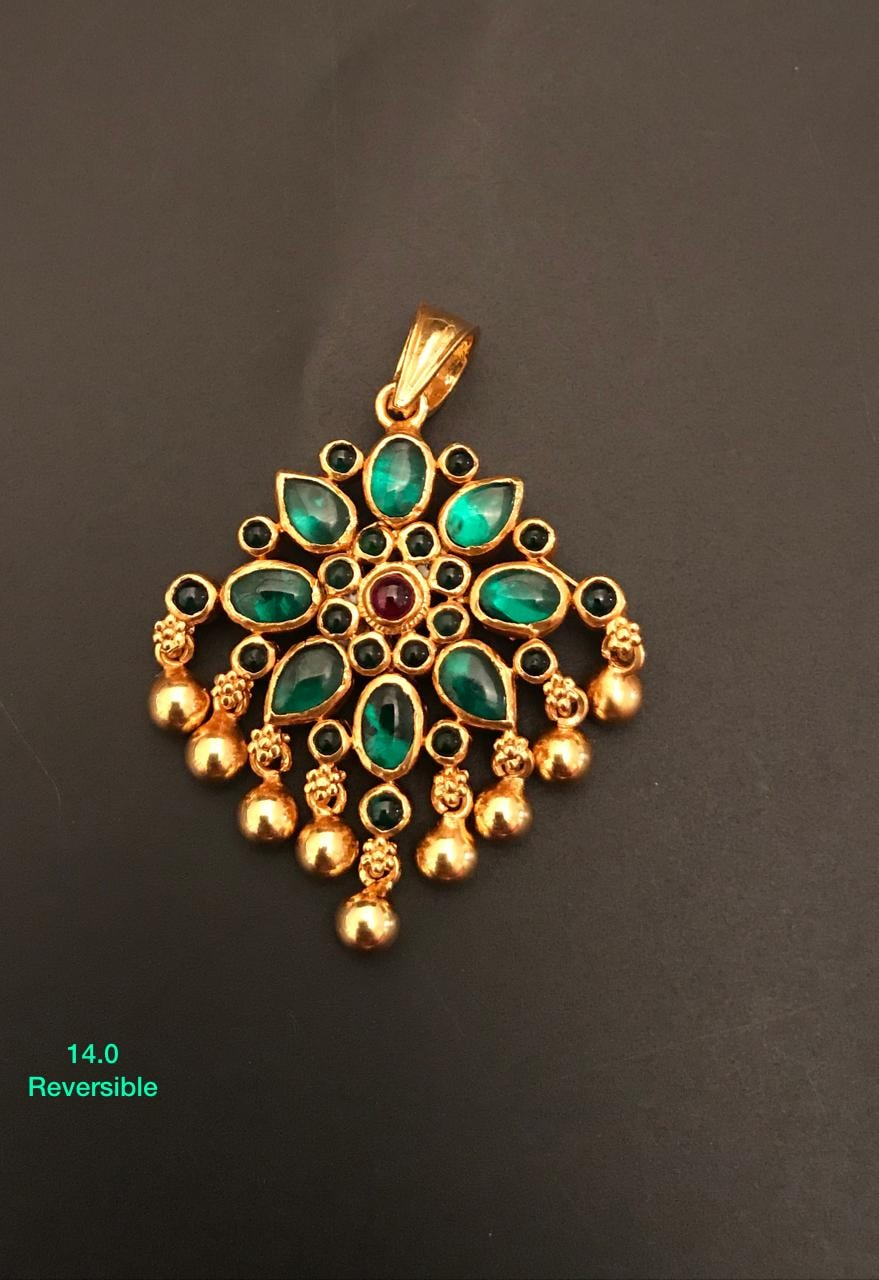 Beautiful one gram gold reversible pendant set studded with multi color kemp stones.  1gm gold jewellery online one gram gold jewellery with price 1gm jewellery online