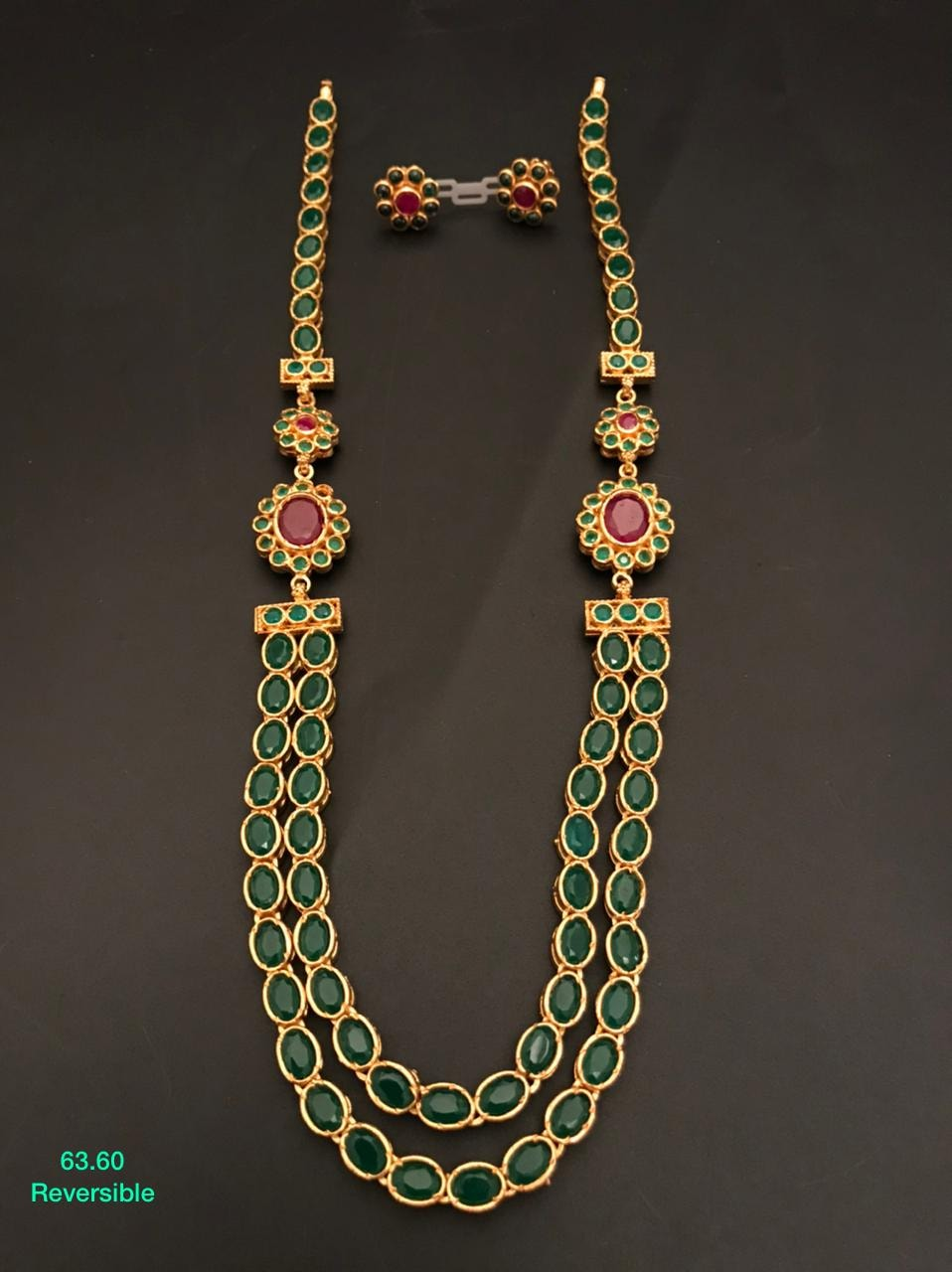 Beautiful one gram gold reversible long haaram set studded with multi color kemp stones.  one gram gold sets 1 gram gold jewellery online shopping cash on delivery 1 gram gold chain designs with price