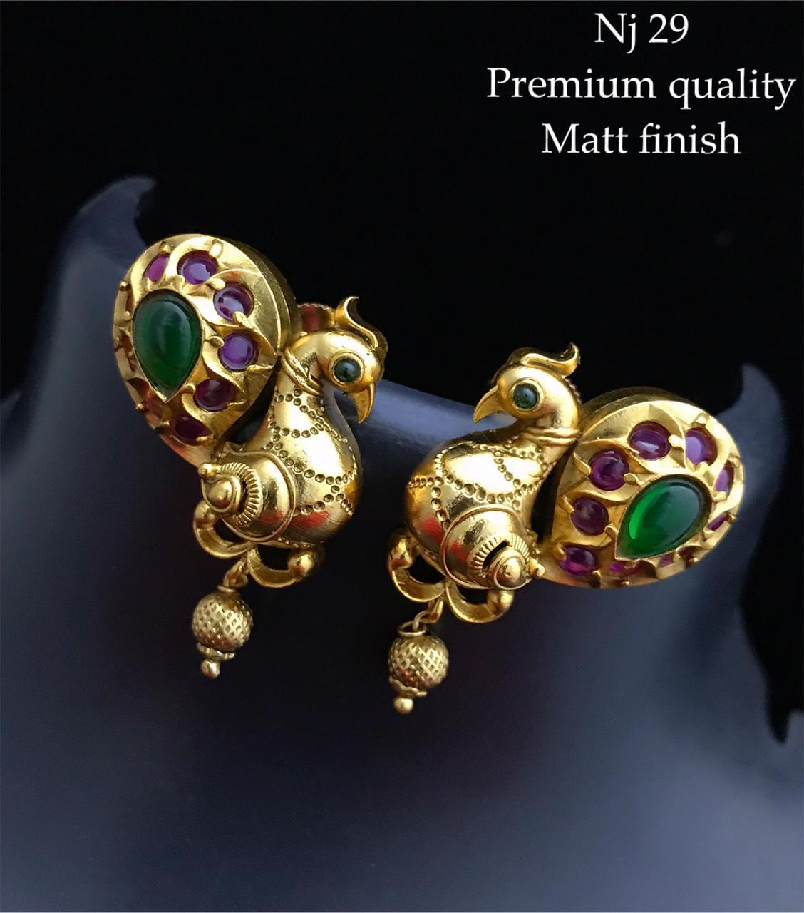 Beautiful matt finish peacock earrings studded with pink and green stones.   1 gram gold jewellery shops near me 1 gram gold chain for baby 1 gram gold sets online