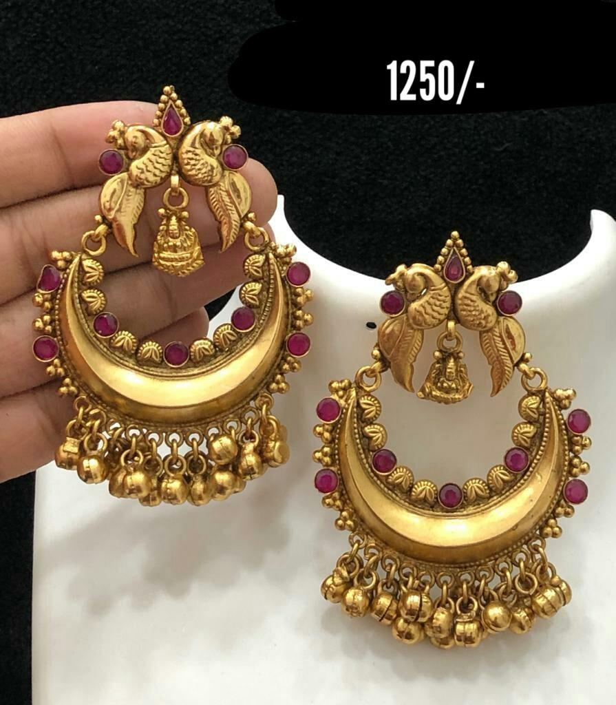 Beautiful one gram gold peacock chaandbali with muvvalu hangings. Price : 1520/- 1 gram gold jewellery wholesale online 1 gram gold jewellery wholesale online one gram gold earrings