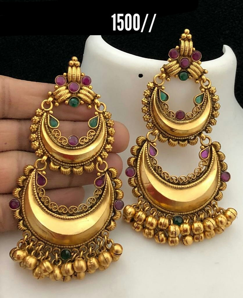 Beautiful one gram gold double chaandbalis with muvvalu hangings.  Price : 1500/- 1 gram gold jewellery wholesale online 1 gram gold jewellery wholesale online one gram gold earrings