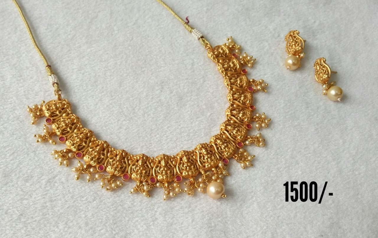 Beautiful one gram gold Lakshmi necklace with matching earrings. Price : 1500/- begum bazar one gram gold shops begum bazar one gram gold shops one gram gold jewellery shops in begum bazar