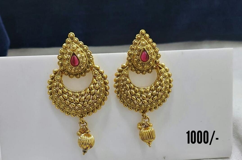 Beautiful one gram gold chaandbalis. Price : 1000/- 1 gm gold chain online 1 gram jewellery online shopping one gram gold pearl jewellery