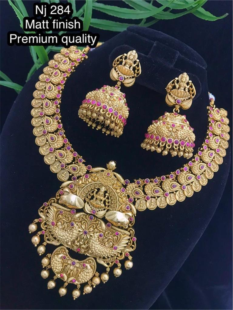 Beautiful one gram gold temple lakshmi motif necklace with macthing lakshmi jumkhis.  one gram gold necklace one gram gold chain one gram jewellery designs