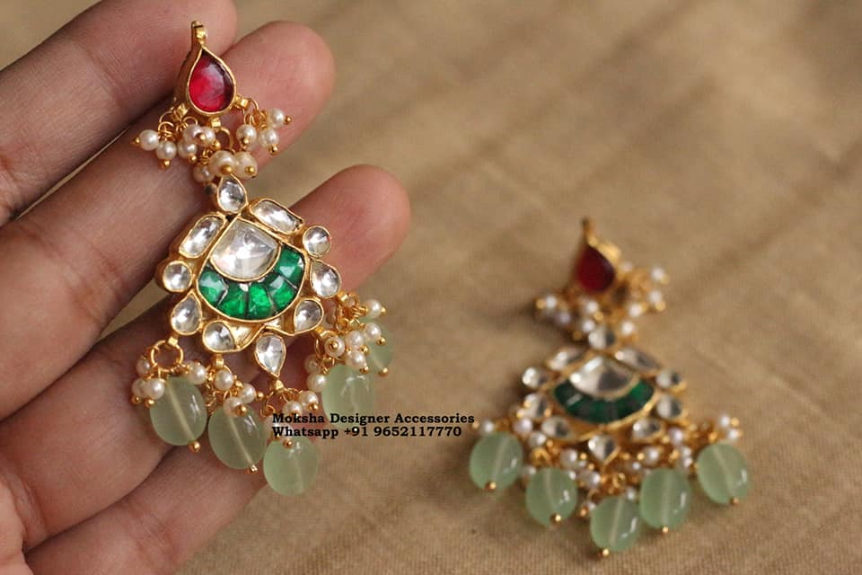 Beautiful one gram gold bead earrings studded with multi color kundans. 1 gram gold cz sets 1 gram jewellery online one gram gold jewellery online