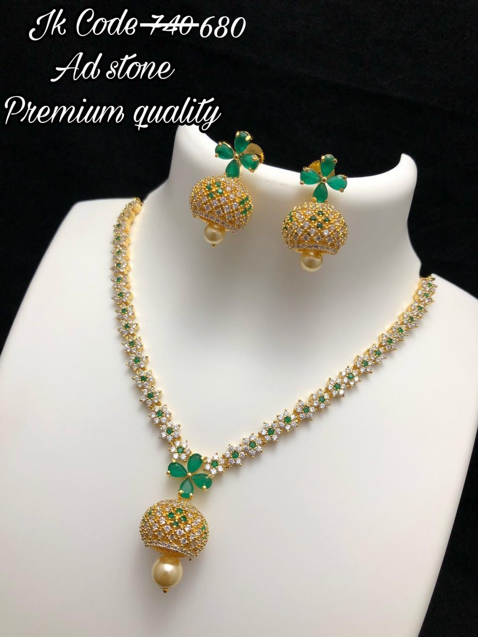 Beautiful one gram gold long neckalce studded with AD stones and matching eaarrings. 1 gram gold long necklace one gram gold chains with price begum bazar one gram gold shops
