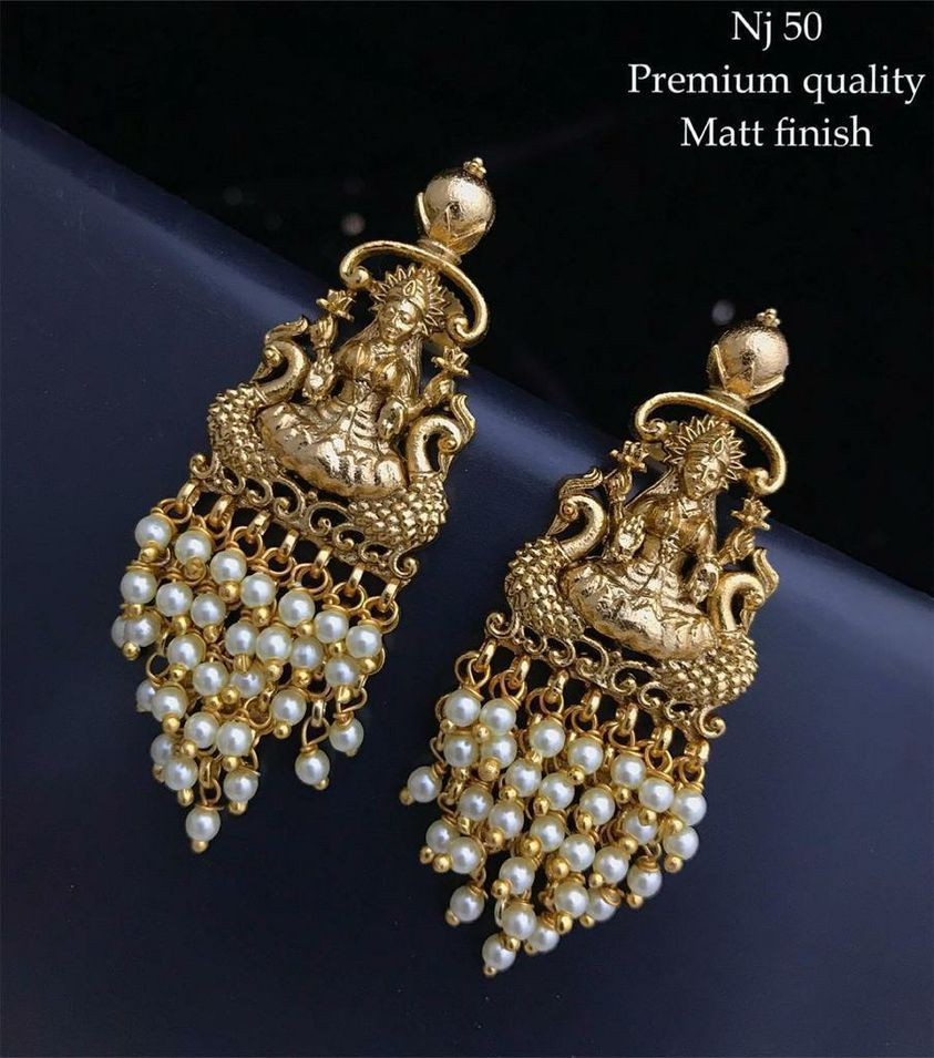 Beautiful one gram gold Lakshmi devi earrings with beads hangings.  ear chains one gram gold 1gm gold jewellery one gram gold ornaments online