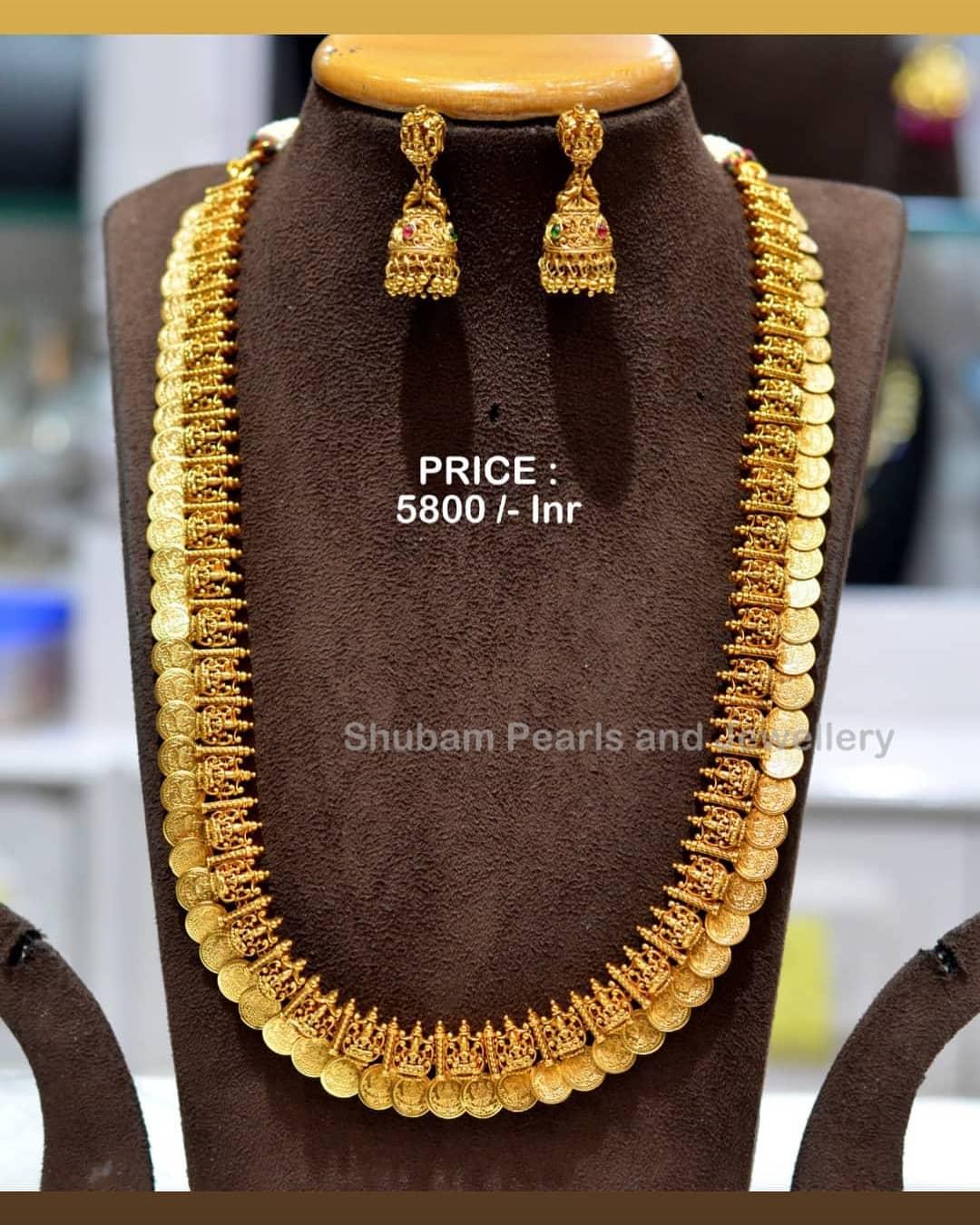 Beautiful one gram gold Lakshmi kasu long haarm with buttalu. Price : 5800/- one gram gold long chain designs 1 gram jewellery online one gram gold temple jewellery