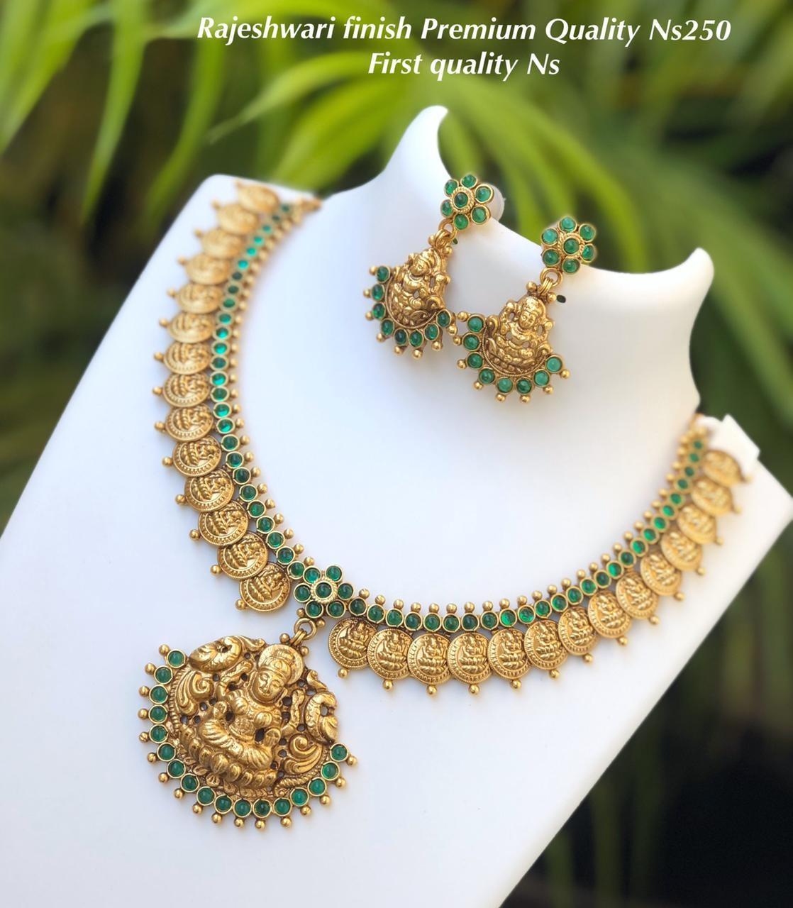 Beautiful one gram gold temple Lakshmi kasu necklace with lakshmi earrings. one gram gold jewellery wholesale 1 gram gold chain design 1 gram jewellery set