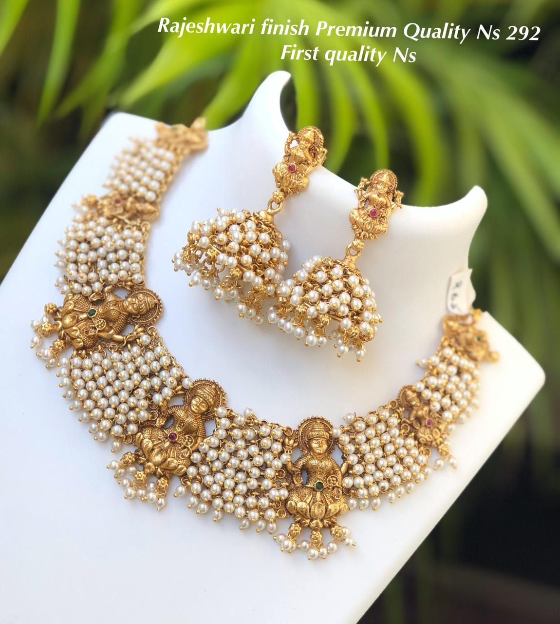 Beautiful one gram gold temple Lakshmi motif necklace with lakshmi earrings. one gram gold wholesale one gram gold jewellery chokers one gram gold plated chain