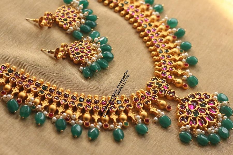Beautiful one gram gold necklace studded with multi color stones. one gram gold wholesale one gram gold jewellery chokers one gram gold plated chain