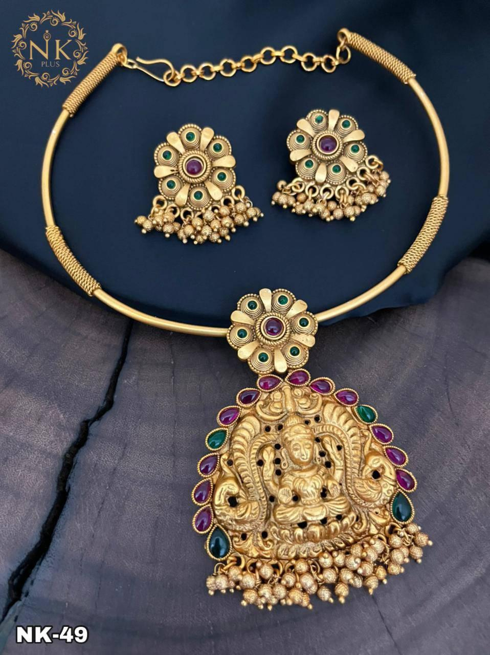 Beautiful one gram gold temple Lakshmi motif necklace with earrings. one gram necklace set matte finish one gram gold jewellery best one gram gold jewellery online