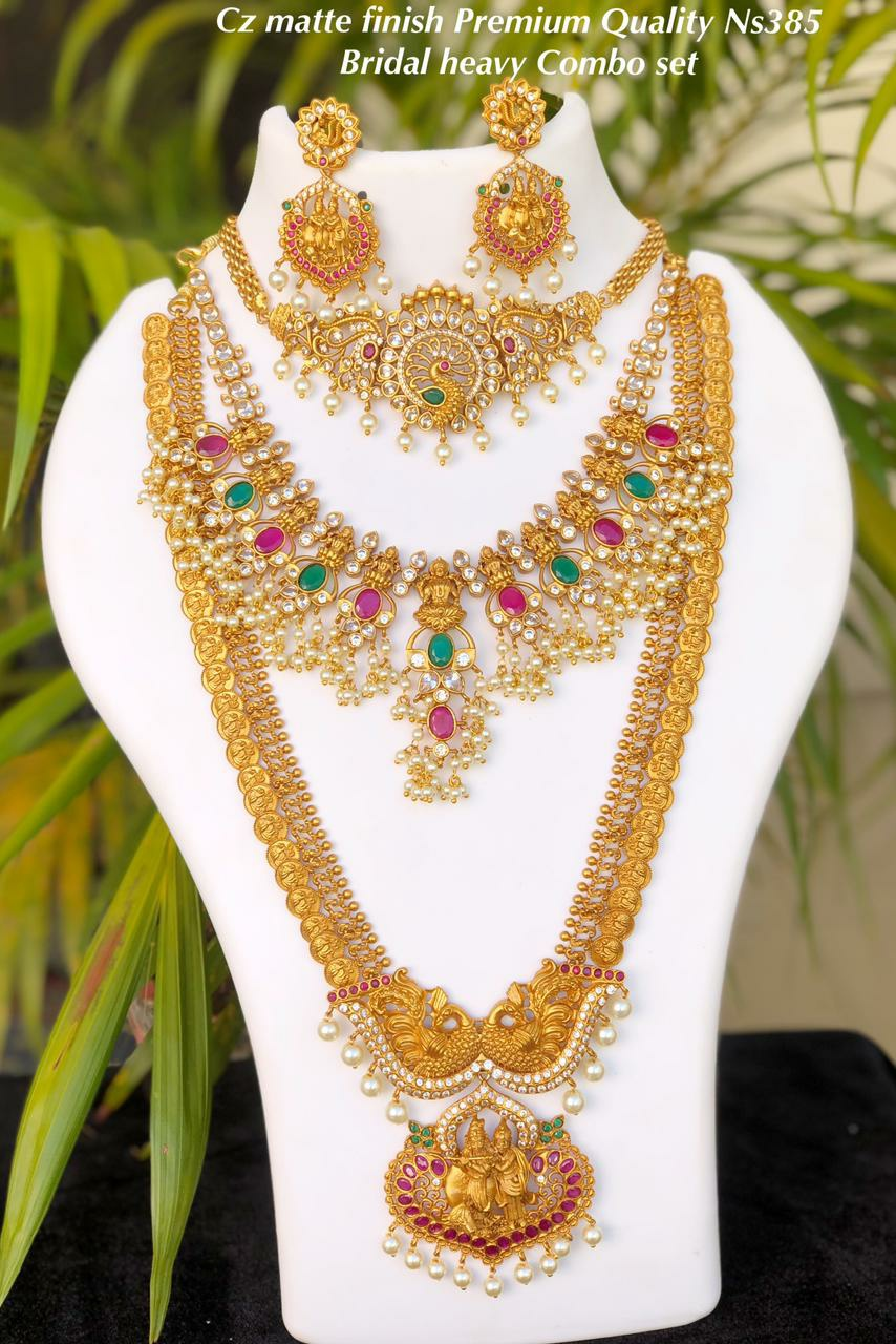 Beautiful one gram gold Lakshmi kasu temple bridal set.
