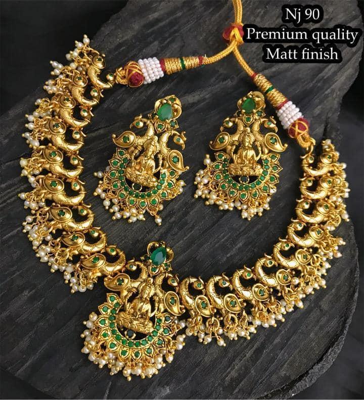 Beautiful one gram gold Lakshmi devi and swan motifs necklace with guttapusalu hangings.  1 gram gold jewellery online shopping 1 gram gold polish jewellery one gram gold chain